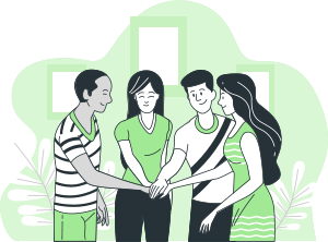 a group of people huddle their hand in center smiling