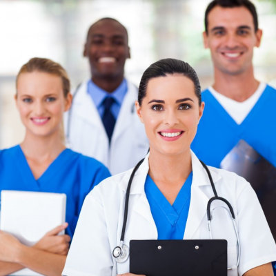 a group of a professional medical team smiling